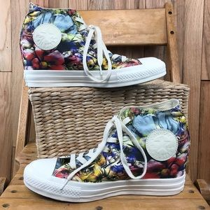 Converse floral concealed wedge high top